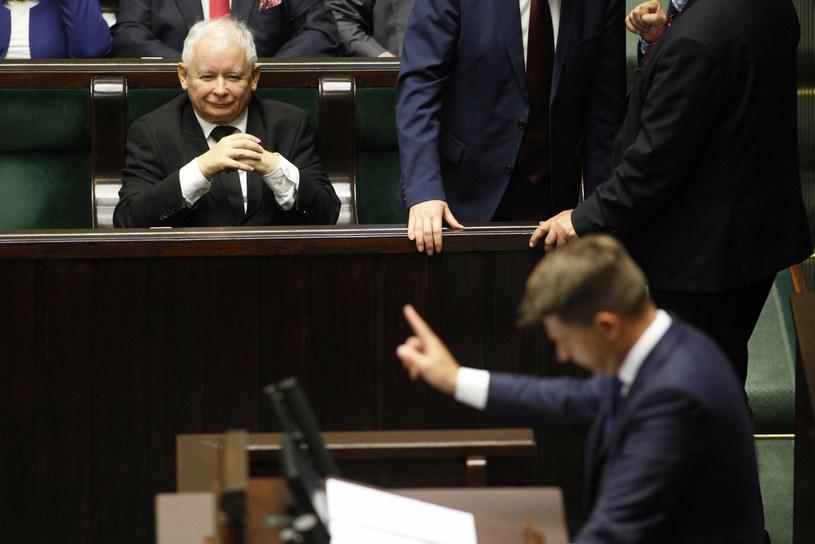 Ryszard Petru i Jarosław Kaczyński w Sejmie w 2017 r. /Stefan Maszewski /Reporter