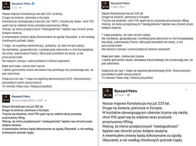 Ryszard Petru kilkakrotnie edytował swój wpis /Facebook