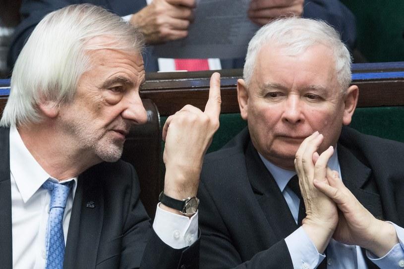Ryszard Terlecki i Jarosław Kaczyński w Sejmie /Andrzej Iwańczuk /Reporter