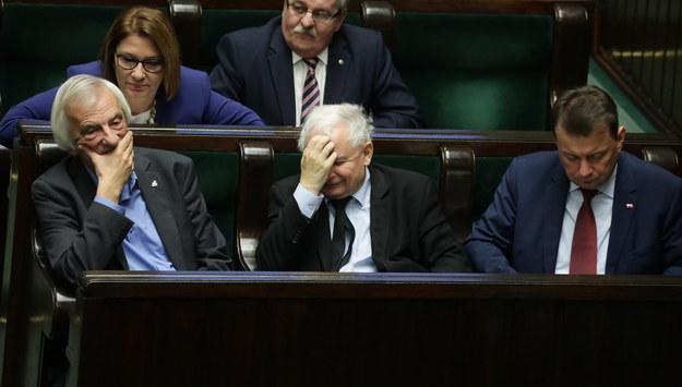 Ryszard Terlecki, Jarosław Kaczyński i Mariusz Błaszczak /Tomasz Gzell /PAP
