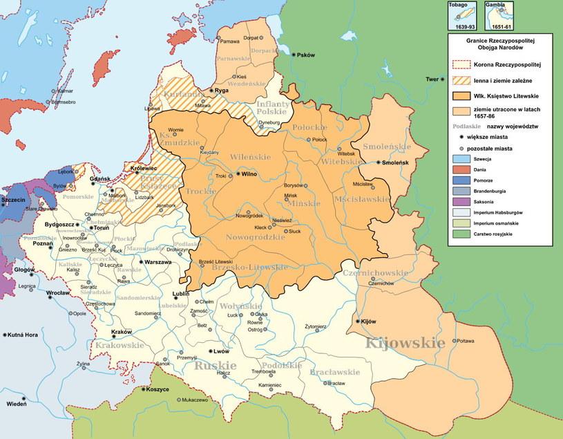Rzeczpospolita Obojga Narodów w 1635 roku / fot. CC BY-SA 3.0 /materiały źródłowe