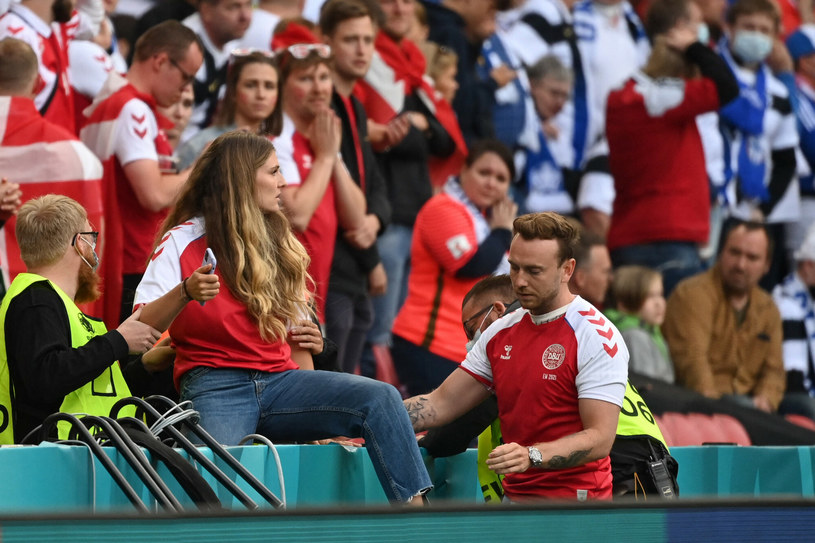 Sabrina Kvist Jensen, partnerka Christiana Eriksena, była obecna na stadionie /JONATHAN NACKSTRAND /East News