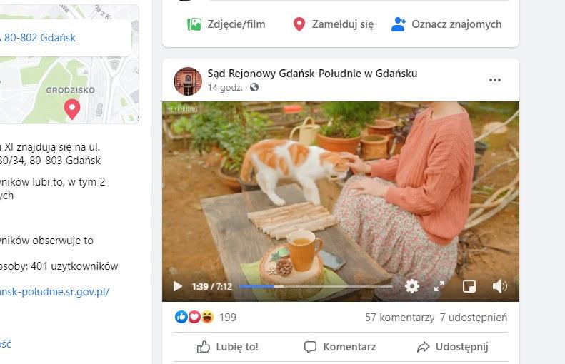 Sąd Rejonowy Gdańsk-Południe / Facebook, zrzut z 16 lipca /materiał zewnętrzny
