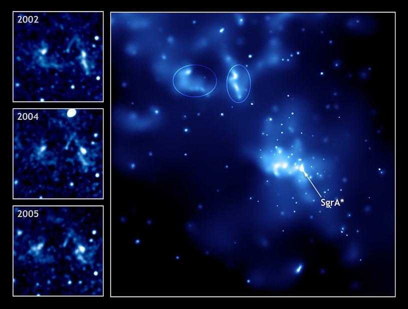 Sagittarius A* (w środku) i dwa jasne źródła z wybuchów (zaznaczone elipsami) /NASA