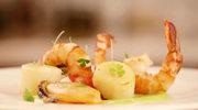 Sałatka z owocami morza i sosem awokado-wasabi