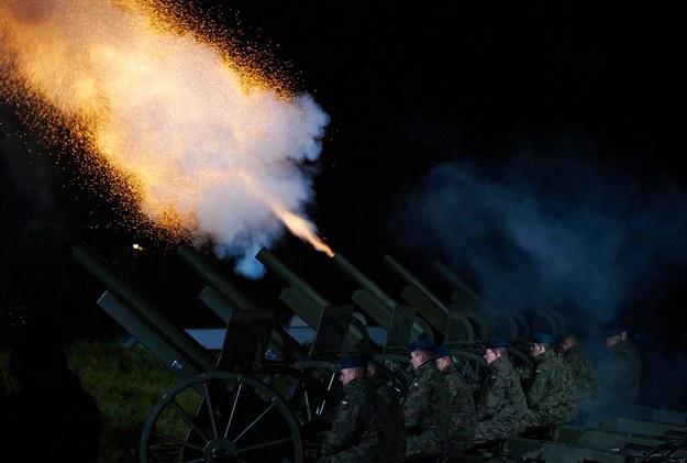 Salwy z armat podczas uroczystych obchodów 70. rocznicy zakończenia II wojny światowej, na Westerplatte w Gdańsku / Adam Warżawa    /PAP
