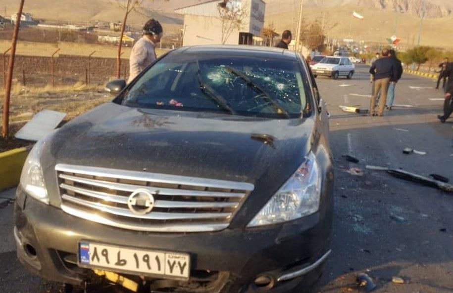 Samochód, którym jechał naukowiec /IRIB /PAP/EPA