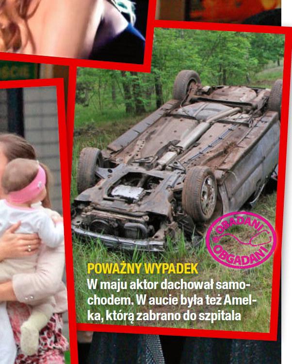 Samochód Piotra Zelta po wypadku /Na żywo