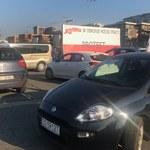 Samochodowy protest związkowców z Tauronu w Katowicach