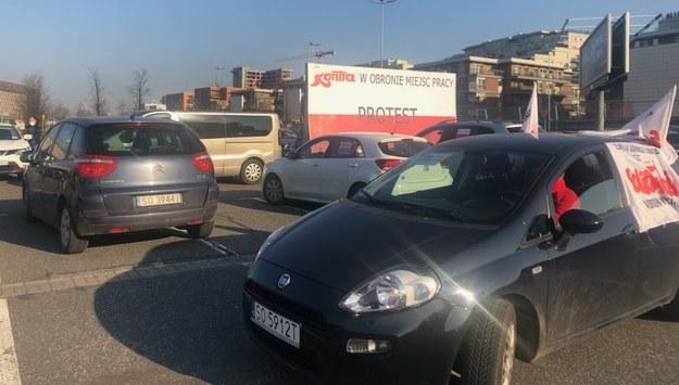 Samochody uczestników protestu /Anna Kropaczek /RMF FM