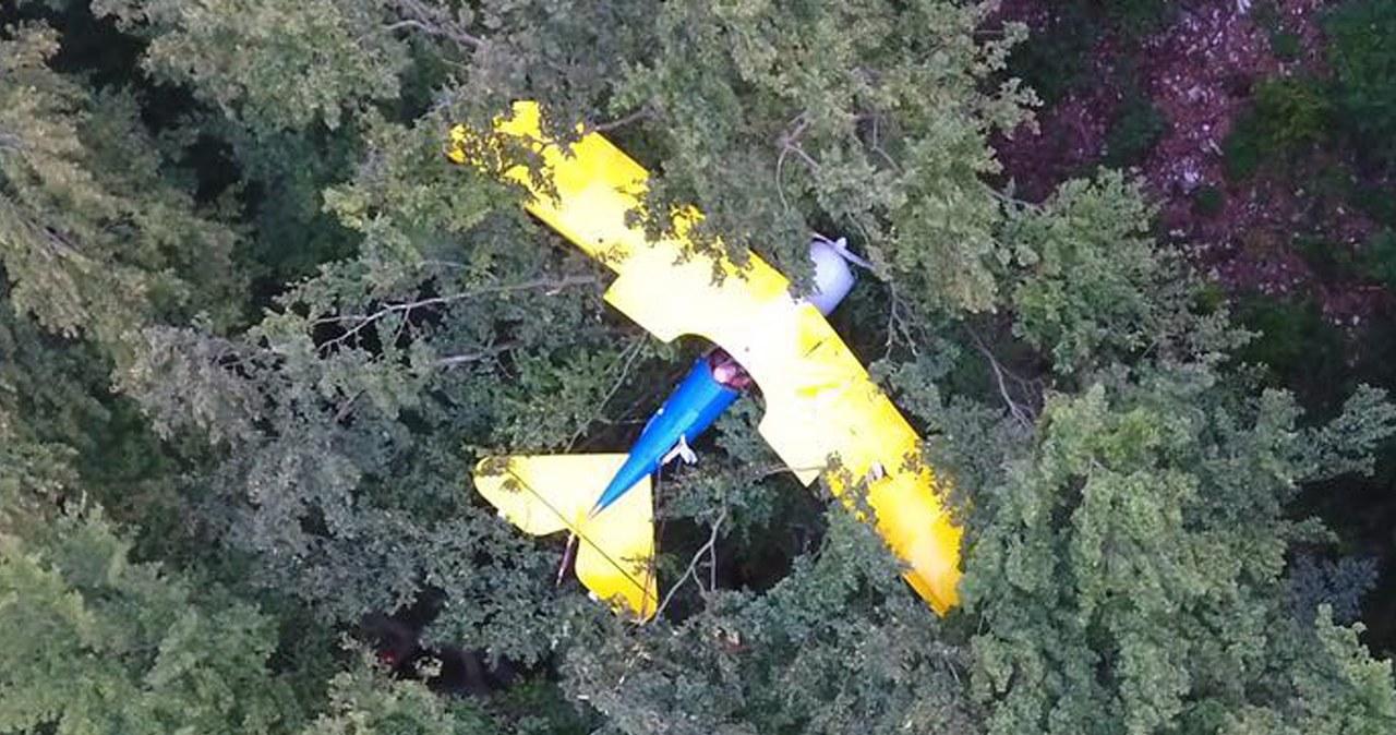 Samolot spadł na drzewa. Pilot został uratowany po 13 godzinach