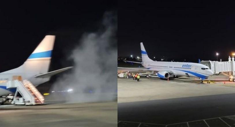 Samolot z polskimi turystami zapalił się przy starcie (fot. archiwum prywatne pasażer) /