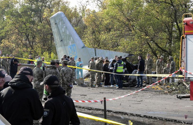 Samolotem leciało 20 słuchaczy Charkowskiego Narodowego Uniwersytetu Sił Powietrznych Ukrainy i siedmiu oficerów /SERGEY KOZLOV /PAP/EPA
