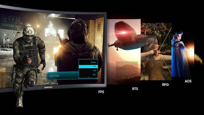 Samsung CFG73 - tryby gier /materiały prasowe