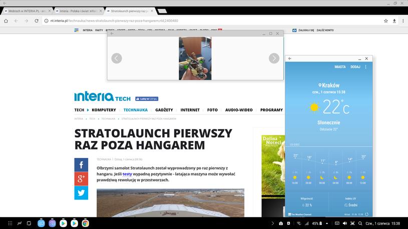 Samsung DeX - zrzut ekranu przeglądarki, plus dodatkowe okna /INTERIA.PL