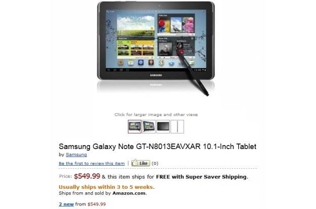 Samsung Galaxy Note 10.1 przez chwilę był obecny na Amazonie /Internet