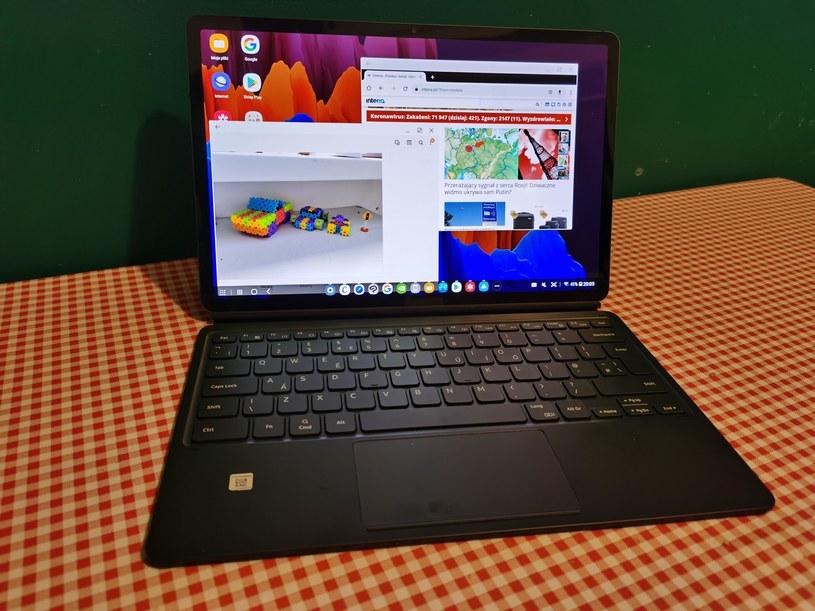 Samsung Galaxy Tab S7+ w wersji Samsung DeX, czyli androidowy notbook-tablet /INTERIA.PL