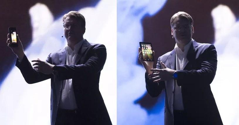 Samsung pokazuje prototyp składanego smartfona na konferencji SDC w San Francisco w 2018 roku /materiały prasowe