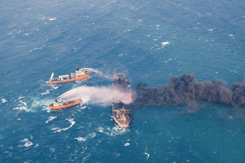 Sanchi; akcja gaśnicza /PAP/EPA