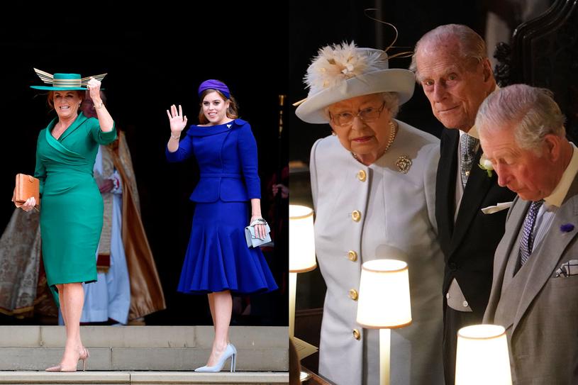 Sarah Ferguson i siostra Eugenii - Beatriice oraz królowa Elżbieta II, książę Filip i Karol /AFP