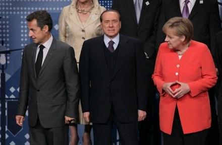 Sarkozy, Berlusconi i Merkel /AFP