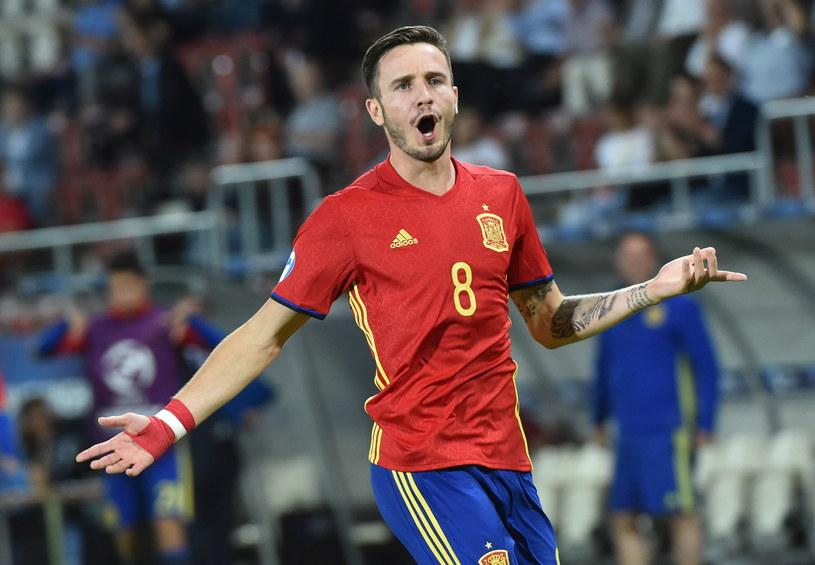 Saul Niguez w meczu z Włochami zdobył hat-tricka /Jacek Bednarczyk /PAP