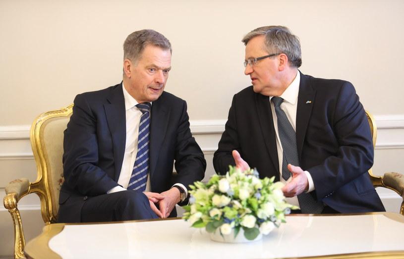 Sauli Niinisto i Bronisław Komorowski /Leszek Szymański /PAP
