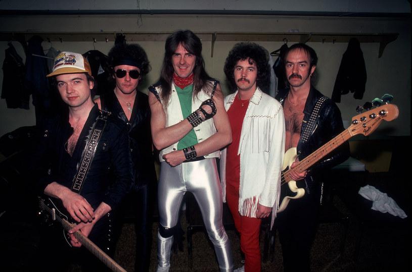 Saxon w 1982 r. - od lewej: Paul Quinn, Nigel Glockler, Biff Byford, Graham Oliver i Steve Dawson /Paul Natkin /Getty Images
