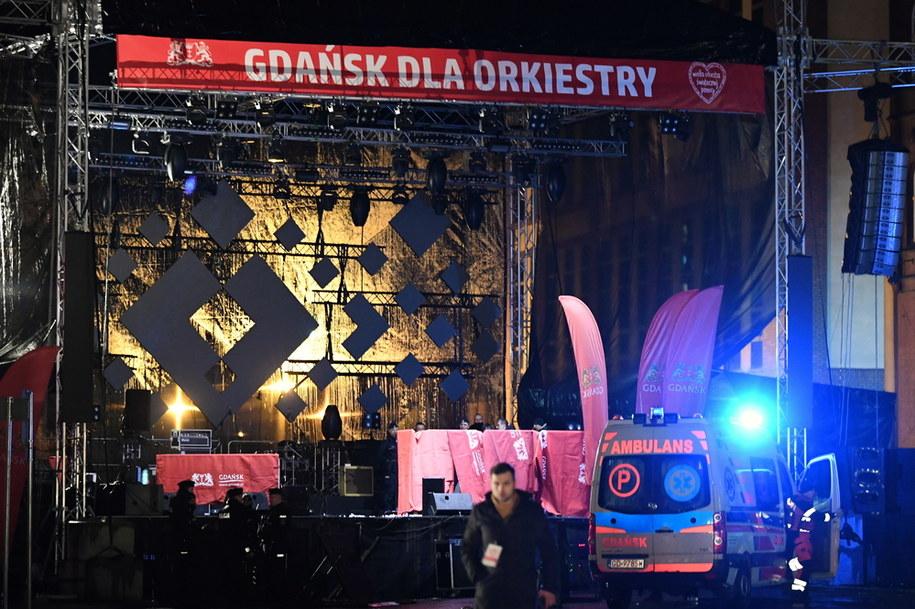 Scena, na której zaatakowany został prezydent Gdańska Paweł Adamowicz / Adam Warżawa    /PAP