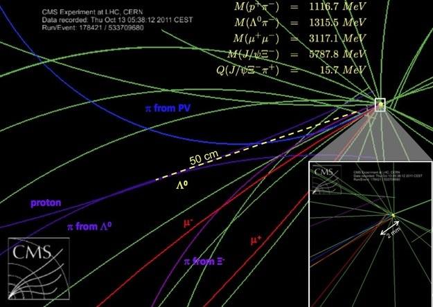 Schemat rozpadu potwierdzającego istnienie nowej cząstki. /materiały prasowe
