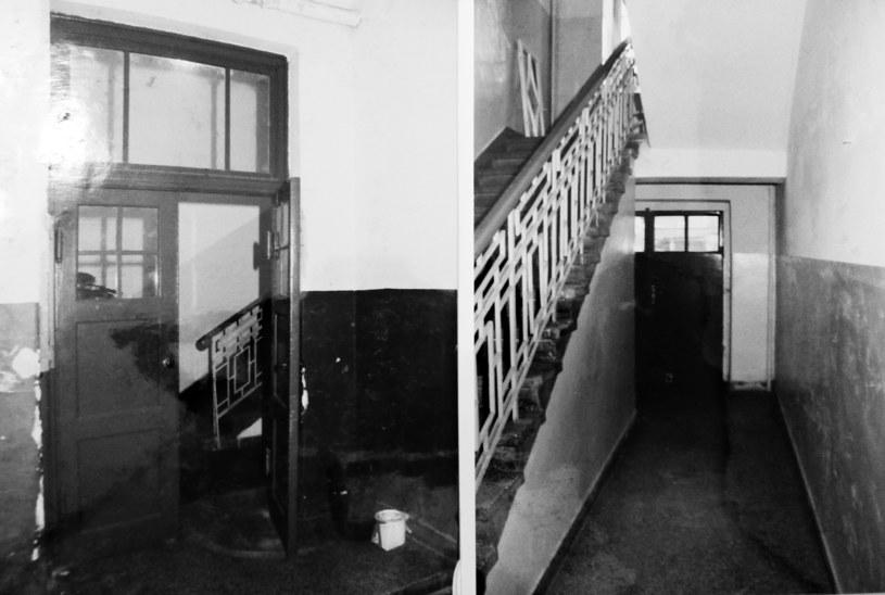Schody na piętro, po których uciekał Maciej Nawrocki przed strzelającym do niego Siergiejem. Fot. Akta sądowe. /materiały prasowe