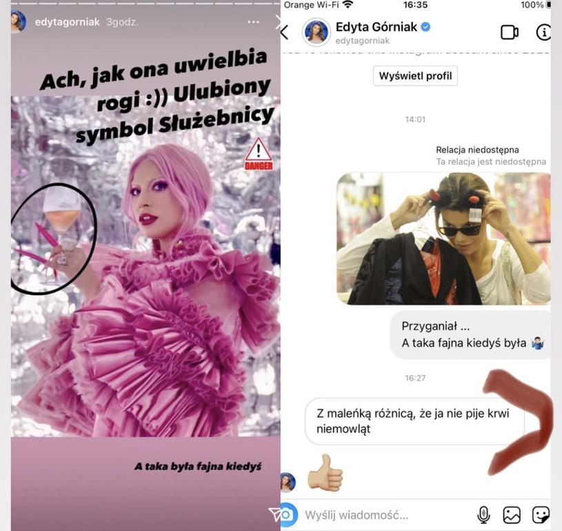 Screen od naszego informatora. Górniak wdała się w konwersację z jednym z internautów, sugerując, że Lady Gaga pije krew niemowląt... /brak /materiał zewnętrzny