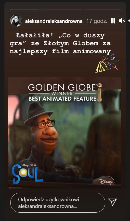 Screen pochodzący z InstaStory Oli Kwaśniewskiej - https://www.instagram.com/aleksandraleksandrowna/?hl=pl /Instagram/aleksandraleksandrowna /Instagram
