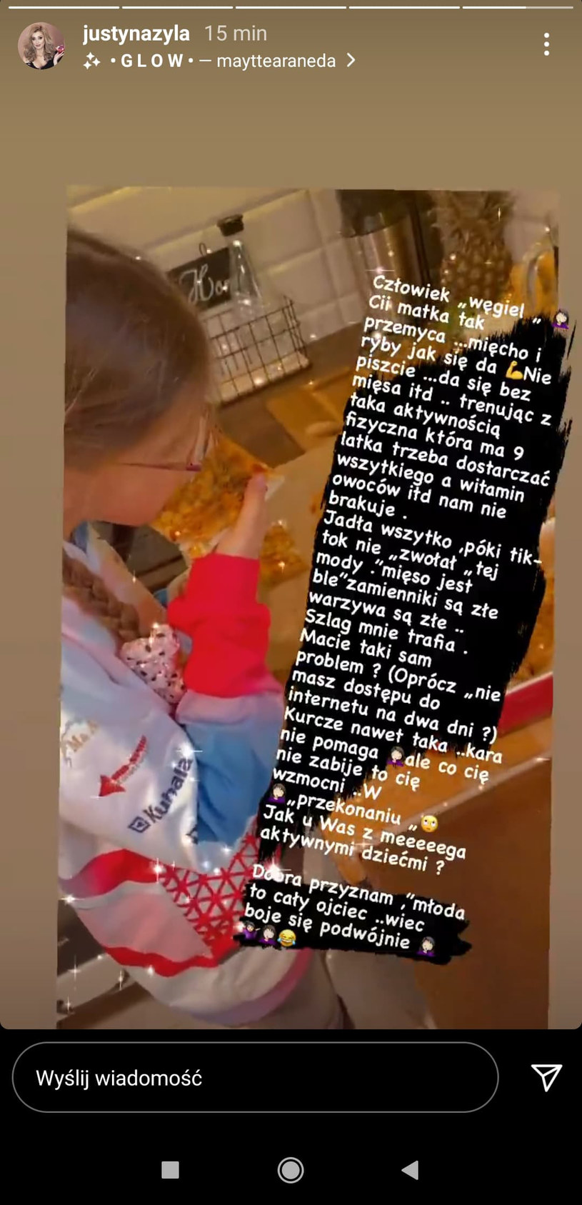 Screen pochodzi z profilu Justyny Żyły na Instagramie - https://www.instagram.com/justynazyla/?hl=pl /Instagram/justynazyla /Instagram