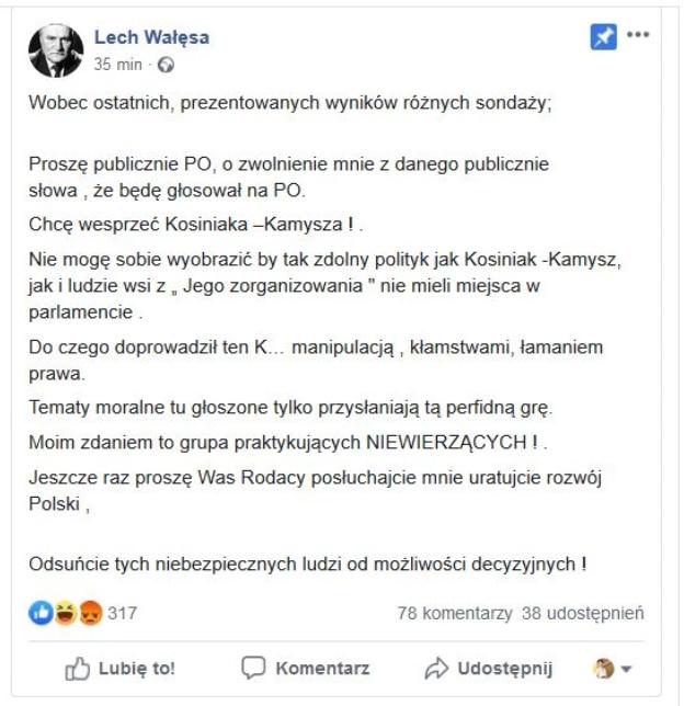 Screen wtorkowego posta Lecha Wałęsy na Facebooku /Facebook /Zrzut ekranu