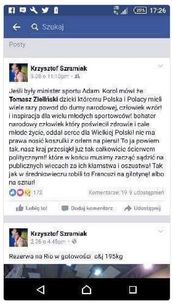 Screen z Facebooka Krzysztofa Szramiaka /INTERIA.PL