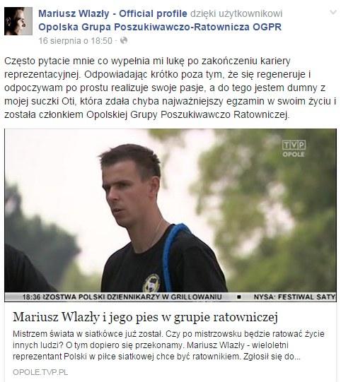 Screen z Facebooka Mariusza Wlazłego. Źródło: https://www.facebook.com/MariuszWlazlyFanPage /INTERIA.PL