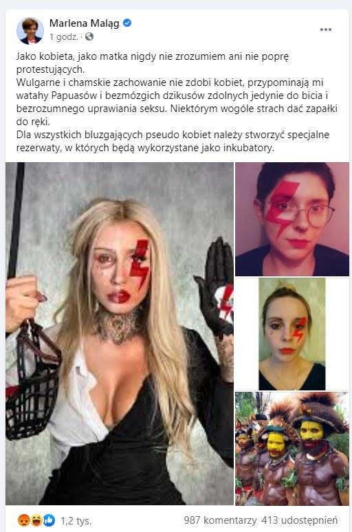 Screen z konta Marleny Maląg /Facebook /