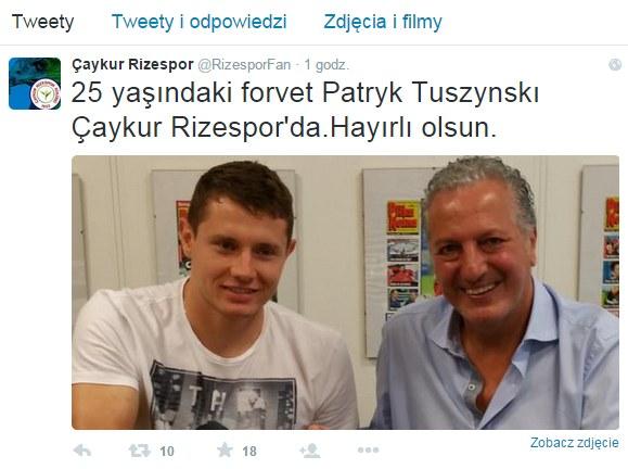 Screen z Twittera Caykur Rizespor. Źródło: https://twitter.com/RizesporFan /Twitter /INTERIA.PL
