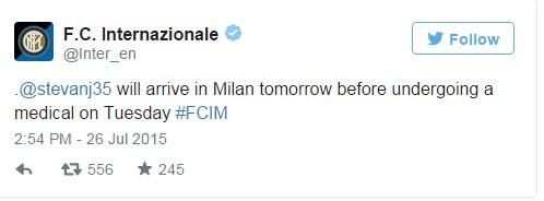 Screen z Twittera Interu Mediolan. Źródło: https://twitter.com/Inter_en /Twitter /INTERIA.PL