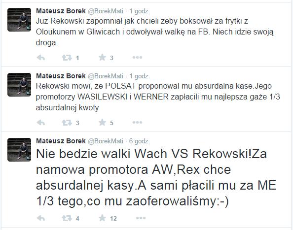 Screen z Twittera Mateusza Borka. Źródło: https://twitter.com/BorekMati /Twitter /INTERIA.PL