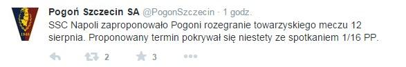 Screen z Twittera Pogoni Szczecin. Źródło: https://twitter.com/PogonSzczecin /Twitter /INTERIA.PL