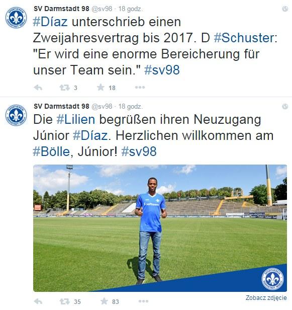 Screen z Twittera SV Darmstadt. Źródło: https://twitter.com/sv98 /Twitter /INTERIA.PL
