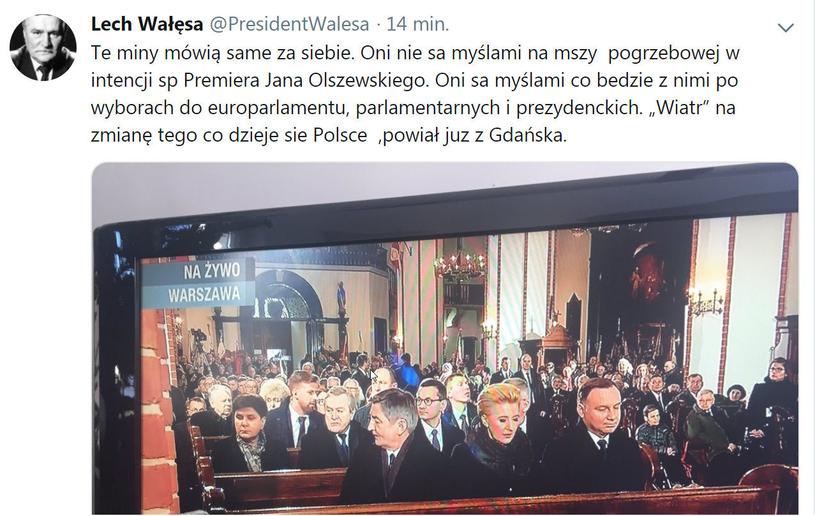 Screen z usuniętego wpisu Lecha Wałęsy /Twitter