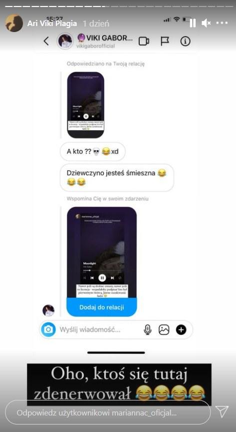 Screen z wiadomości otrzymanej przez Mariannę Ćwiąkałę od Viki Gabor /screen z konta @mariannac_oficjal /Instagram