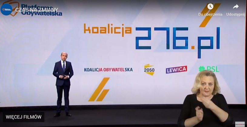 Screen z wystąpienia lidera PO Borysa Budki (foto: YouTube) /
