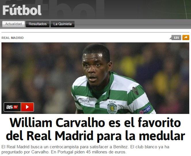 """Screen ze strony """"AS"""". Źródło: www.futbol.as.com /INTERIA.PL"""