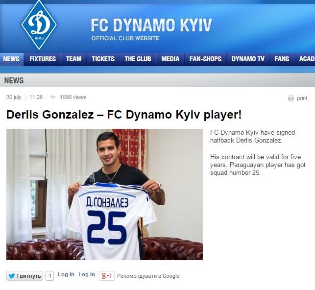 Screen ze strony Dynama Kijów. Źródło: http://www.fcdynamo.kiev.ua/en /INTERIA.PL