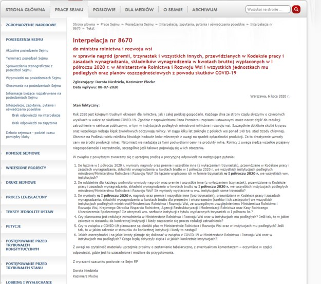Screen ze strony sejm.gov.pl /