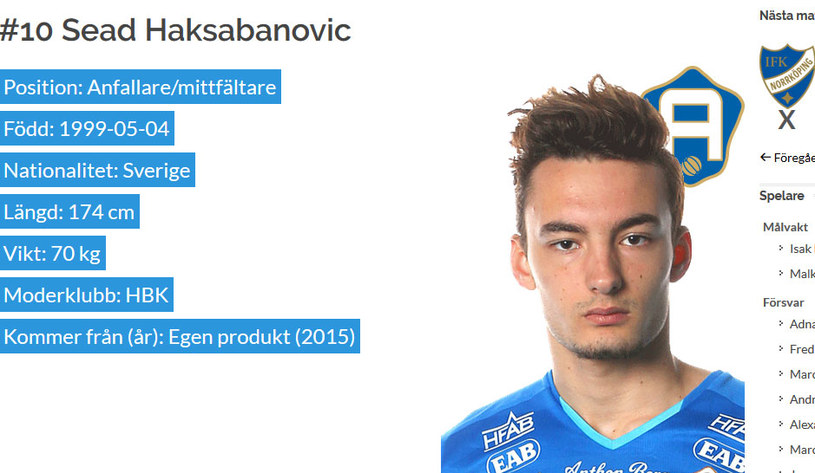 Sead Haksabanović / hbk.se /